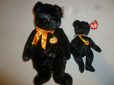 New W Tag Ty Beanie Babies Baby Bear Haunt Set Lot Halloween Club Large Small >>
