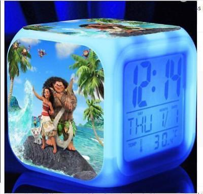 7 Color LED Night Light Alarm Clock Moana princess Figures Watch kids gifts Toy
