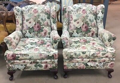 Pair of Vintage Sanderson Linen Floral Wingback Chairs