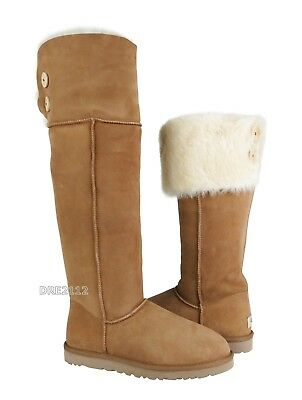 e6a19d80451 UGG BAILEY BUTTON Over the Knee Chestnut Suede Fur Boots Womens Size 8 *NIB*