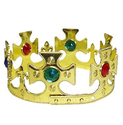 Mens Gold King Crown 59 cm Plastic With Jewels Boys Fancy Dress Party Headpiece