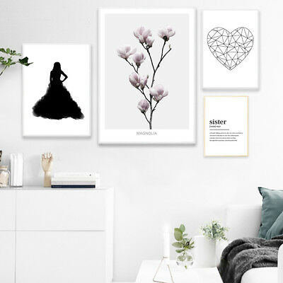 Flower Heart Poster Quotes Scandinavia Style Wall Art Canvas Prints Home Decor