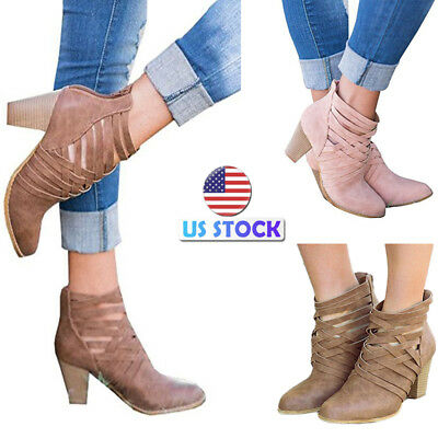 fe2a1ae34cf Women s Cross Strappy High Block Heel Zipper Ankle Boots Bootie Party Shoes  Size