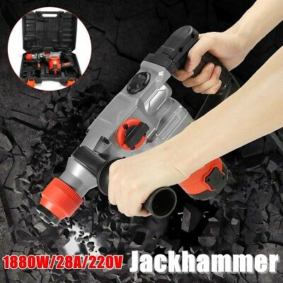 1000 RPM Electric Demolition Jack Hammer Concrete Breaker Punch Chisel Bit 1880W