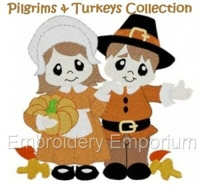 Pilgrims & Turkeys Collection - Machine Embroidery Designs On Cd