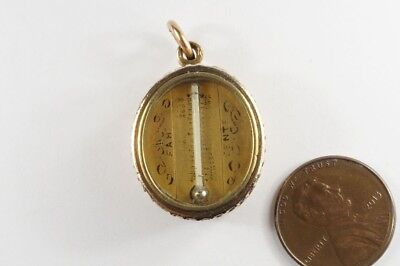 ANTIQUE ENGLISH 9K GOLD MINIATURE THERMOMETER & COMPASS FOB / CHARM c1890