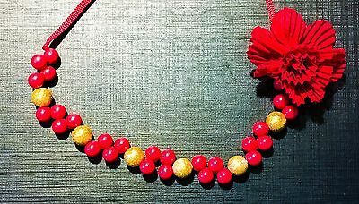 NEW! Christmas Holiday Toddler Jewelry Necklace Red Gold Berries Flower Cherokee