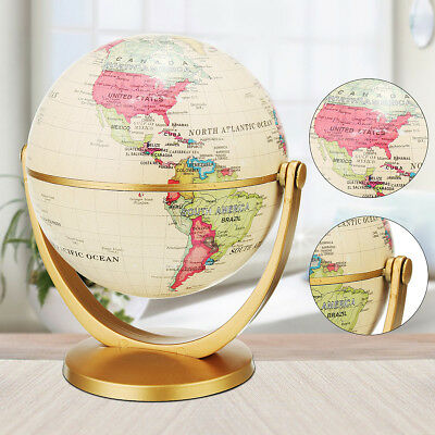 Vintage World Globe Earth Antique Desktop Decor Geography Educational Gift Toy