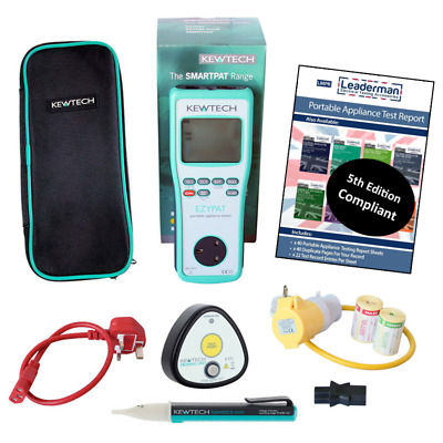 New Kewtech EZYPAT battery operated PAT Tester w/ Uno KTP1 and accessories KIT4W