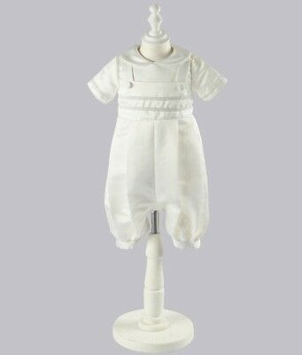 Stunning Traditional Baby Boys Christening Occasion Romper Ivory Satin