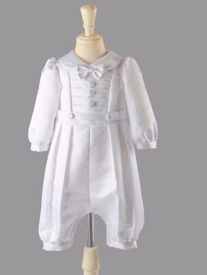 Stunning Traditional Baby Boys Christening Formal Occasion Romper White Satin