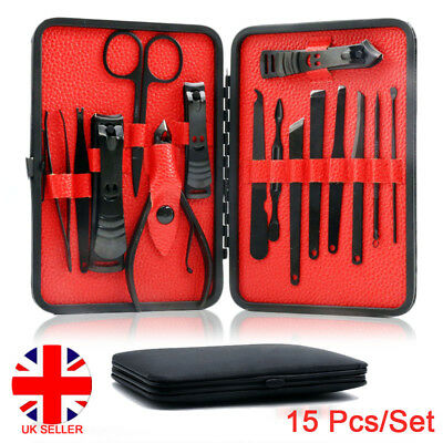 15 Pcs Stainless Steel Manicure Set Pedicure Kit Nail Care Women Men Gift UK 4U8
