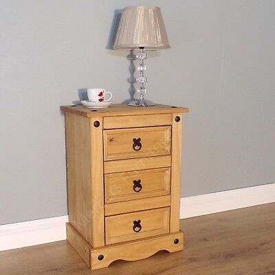 Corona 3 Drawer Bedside Cabinet Solid Pine by Mercers Furniture®