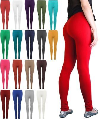 Womens Full Length Plain Long Legging Ladies Stretchy Elasticated Pant Plus Size