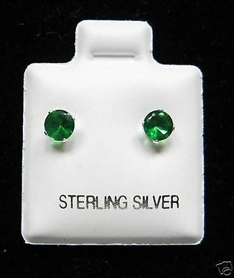 d3a59ab86 Round 4mm Emerald Cubic Zirconia May Birthstone Sterling Silver Stud  Earrings