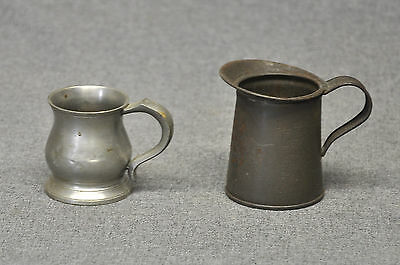 1 Vintage Tin 1/4 pt. Measuring Cup and 1 vintage pewter cup Made in England