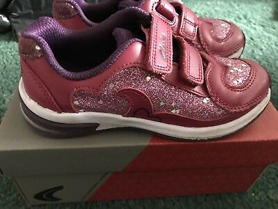 Clarks Piper Chat Inf pink leather trainers - Infant 9.5F - lights in sole