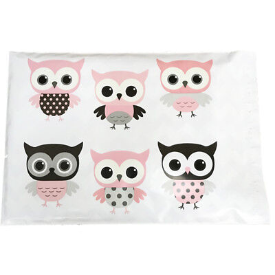 """Designer Poly Mailers Owl 10x13"""" or 6x9"""" Plastic Mailing Shipping Envelopes Pink"""