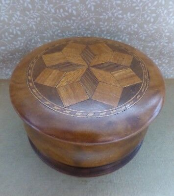 Victorian Turned Wood Parquetry Lid Box Treen