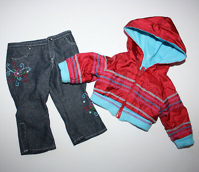 American Girl Doll Two Piece JacketPant Set Jeans Hoodie Fits 18 Inch Doll Denim