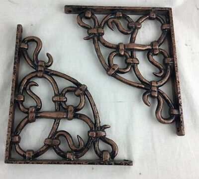 "Vintage Matched Pair Cast Iron Wall Shelf Bracket Ornate 8"" x 7""  Heavy Copper"