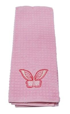 Harwoods Embroidered Kitchen/ Tea Towel 2 Pack (Pink Butterfly)