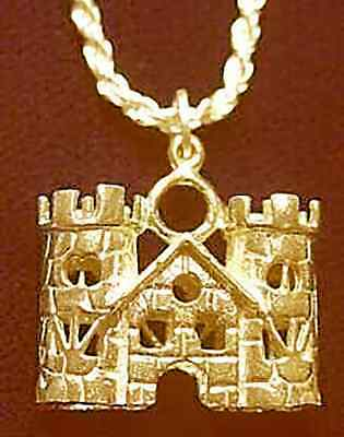 LOOK medieval Gold vermeil Queen King Castle Pendant Charm