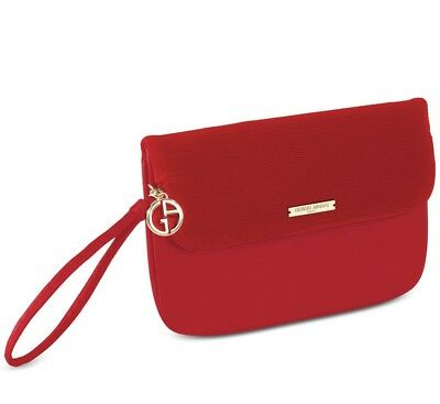 c0c6c091e319 Giorgio Armani Beauty Red Large Flat Pouch Cosmetic Makeup Clutch Bag New  In Box