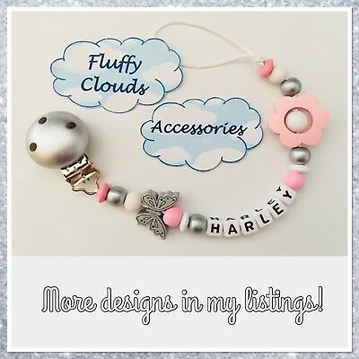 Cute Baby Personalized Wooden Bead Pacifier Dummy Clip Holder ~Girls