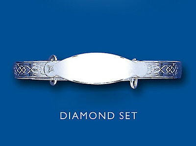 Solid Silver Baby Bangle Real Diamond Expandable Identity 18 months - 3 years