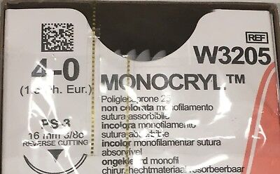 Ethicon Monocryl Suture 4-0 W3205 Pack Of 12