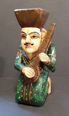 1950's Vintage Hand Carved Painted Wooden Musician Figurine India