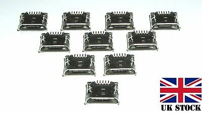 10 × Micro USB Type B Female SMD Socket 5 Pin SMT Placement, Free 1st Class Del.