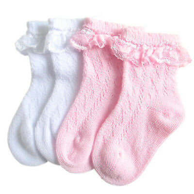 Baby girls infant ankle socks flat toe seam for sensitive feet lace & satin bow
