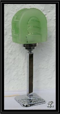 Superb Authentic 1930's Chrome Art Deco Lamp With Rare & Perfect Green Shade