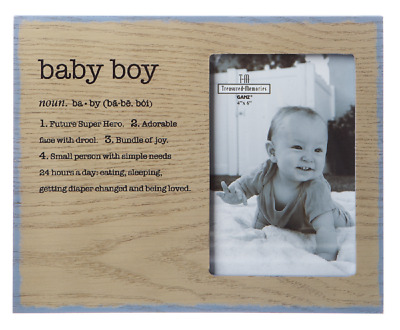 Ganz E8 Baby Boy Blue 4x6in Picture Frame 9.5x8in W/ Sentiments ER43502
