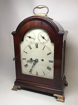 London? English Twin Fusee Verge Mahogany 8 Day Bell Striking Bracket Clock 1770