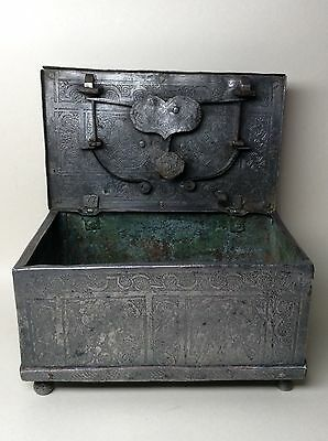 16th, 17th Century Iron Etched Casket.  Armada Chest Nuremberg Eisenkassette.
