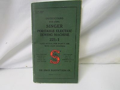 Singer Featherweight  Electric Sewing Machine Model 221-1 Instruction Booklet