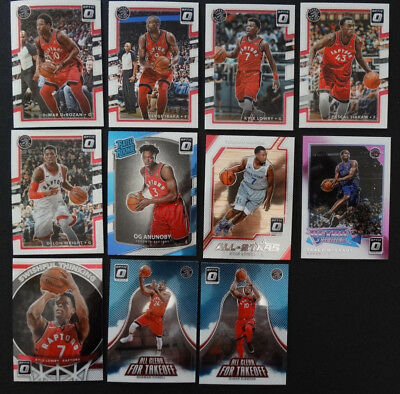 2017-18 Donruss Optic Toronto Raptors Master Team Set 11 Basketball Cards