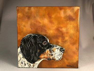 Original Painting, Signed Baldwin, Headstudy Of A Tri-Color English Setter Dog