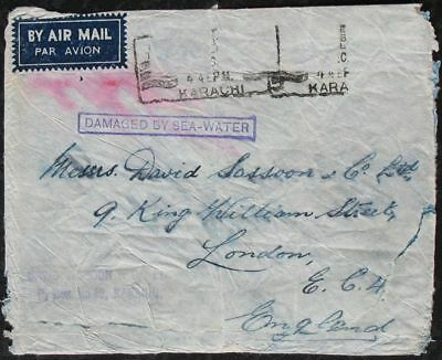 S1906) Airmail India Crash Cover Airmail Karachi - London Damaged by Sea-Water