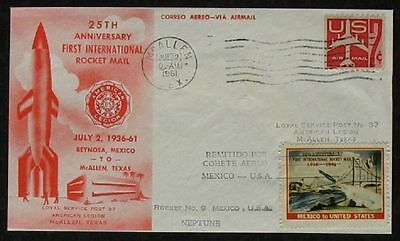 S1234) rocket mail rocket mail No 9 USA - Mexico July 2, 1961 Red Envelope