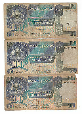 3 x 100 Shillings Bank of Uganda Paper Curency