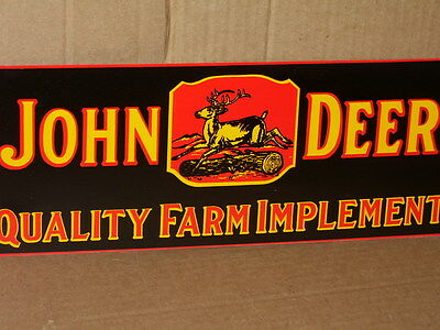 JOHN DEER Quality Farm Implements RARE SIZE Deere Stepping Over Tree  BLACK Sign