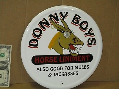 Horse MULE Donkey LINIMENT -- Also Good For Mules & Jackasses - ROUND METAL SIGN