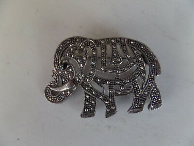 Silver Tone Elephant Pin Brooch With Black Eye And Clasp Hook