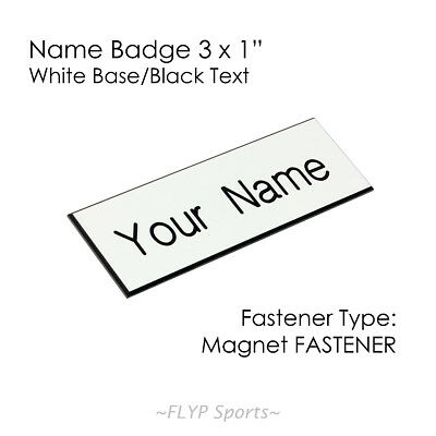 "Name Badge Tag Plate White/Black Magnet 3x1"" Personalised Engraved Customised..."