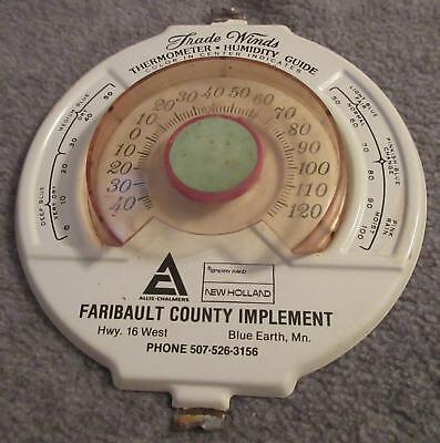 Vintage Allis Chalmers New Holland Thermometer Blue Earth Minn Faribault County