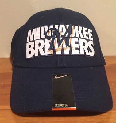 dfea71d2c997c Milwaukee Brewers Nike MLB Baseball Legacy 91 Cap Hat Dri Fit MED LARGE